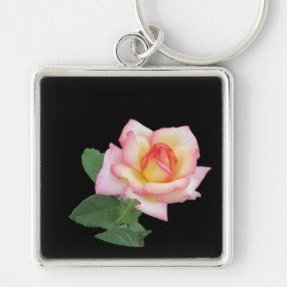 A Single Pink Rose Key Chain