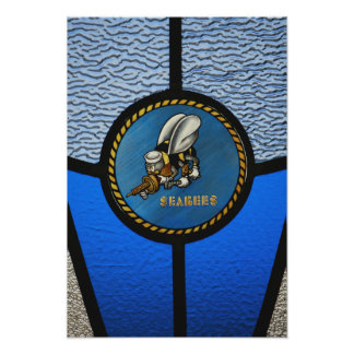 A single Seabee logo Poster