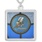 A single Seabee logo Silver Plated Necklace