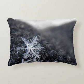 A single snowflake on stands out accent pillow