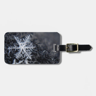 A single snowflake on stands out luggage tag