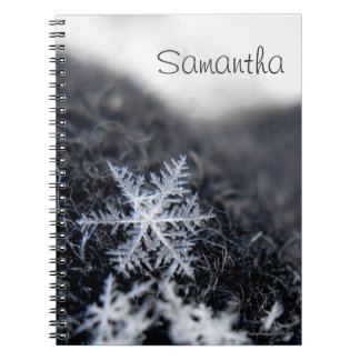 A single snowflake on stands out spiral notebook