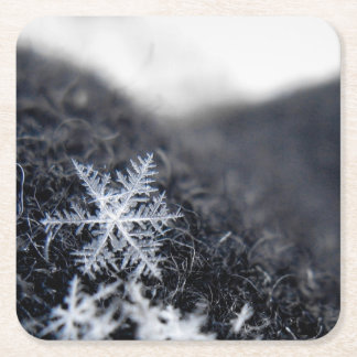 A single snowflake on stands out square paper coaster