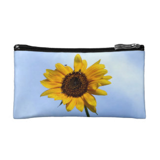 A Singular Yellow Sunflower Blossom and Fly Cosmetic Bag
