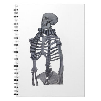 A Skeleton and her Scarf Spiral Notebook