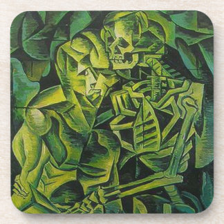 A Skeleton Embracing A Zombie Halloween Horror Beverage Coaster