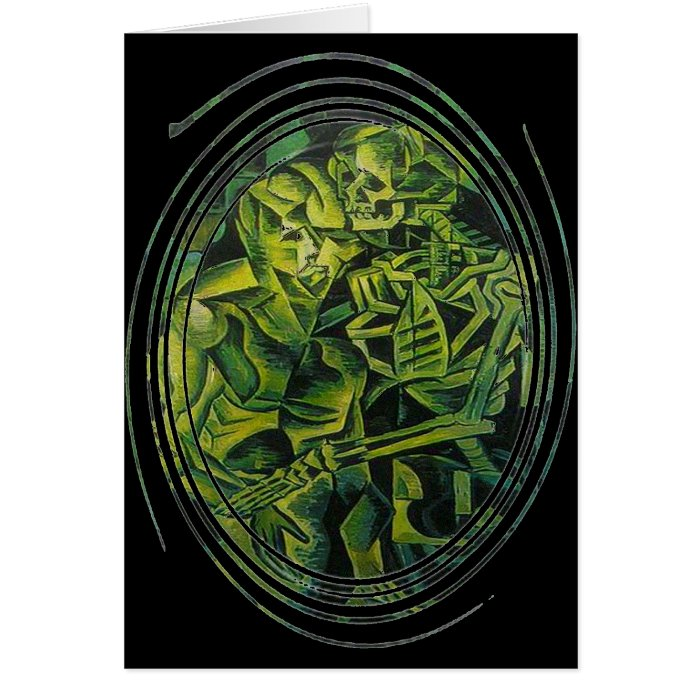 A Skeleton Embracing A Zombie Halloween Horror Card