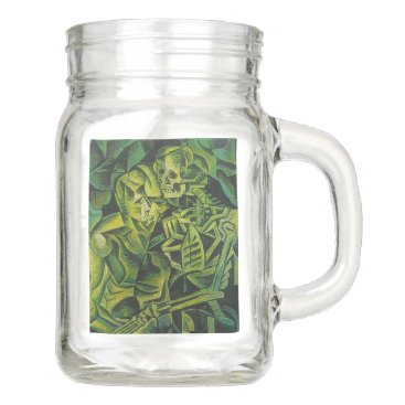 Halloween Themed A Skeleton Embracing A Zombie Halloween Horror Mason Jar