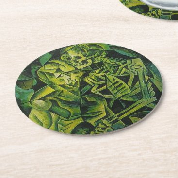 Halloween Themed A Skeleton Embracing A Zombie Halloween Horror Round Paper Coaster