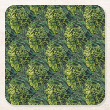 Halloween Themed A Skeleton Embracing A Zombie Halloween Horror Square Paper Coaster