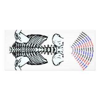 a skeleton number rack card design