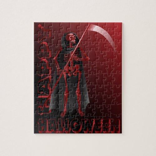 Skeleton With Scythe Jigsaw Puzzle