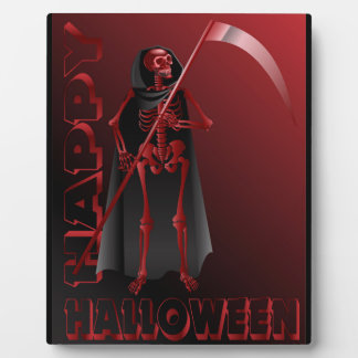 A skeleton with a scythe Happy Halloween 2 Plaque