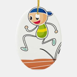 A sketch of a boy running ceramic ornament