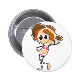 A sketch of a girl wearing a swimsuit pinback buttons