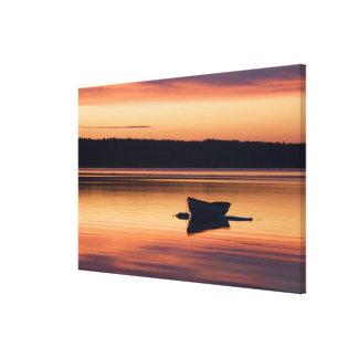 A skiff at sunrise in Eggemoggin Reach in Little Canvas Print