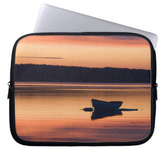 A skiff at sunrise in Eggemoggin Reach in Little Laptop Computer Sleeves
