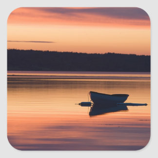 A skiff at sunrise in Eggemoggin Reach in Little Square Sticker