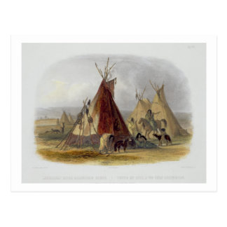 A Skin Lodge of an Assiniboin Chief, plate 16 from Postcard