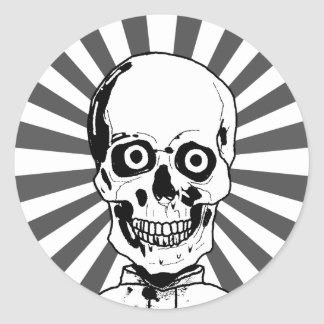 A skull or living dead classic round sticker