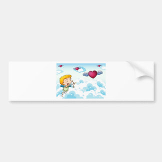 A sky with an angel and heart's with wings bumper sticker
