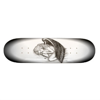 A sleeping Angel , black and white Skateboard Deck
