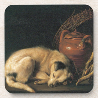 A Sleeping Dog with Terracotta Pot by Gerrit Dou Beverage Coaster