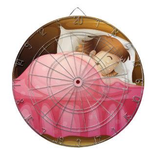 A sleeping girl dart board