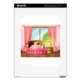 A sleeping girl on a bed decal for iPad 3