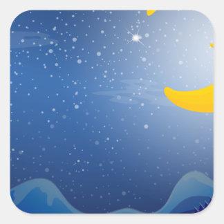 A sleeping moon square sticker