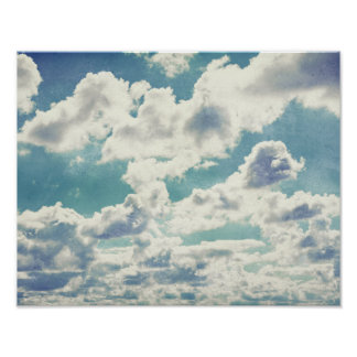 A Slice of Heaven Artwork White Fluffy Clouds Poster