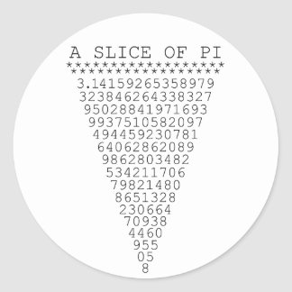 A Slice of Pi Presentation Classic Round Sticker