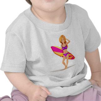 A slim lady surfing shirt
