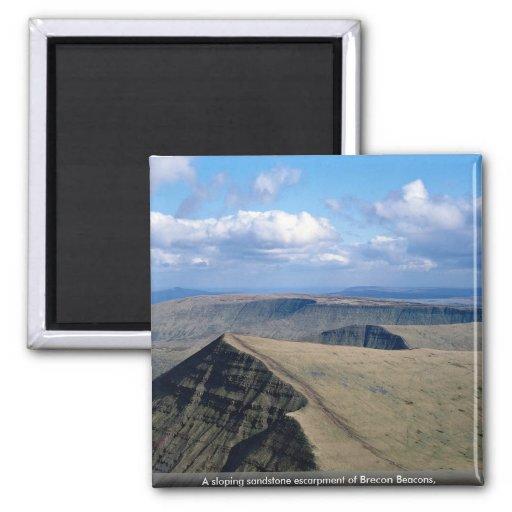 A sloping sandstone escarpment of Brecon Beacons, Fridge Magnets