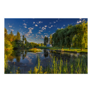 A slough of the Flathead River catches morning Poster