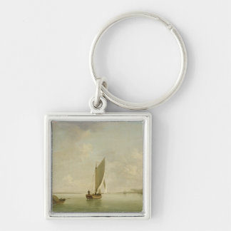 A Smack Under Sail in a Light Breeze in a River, c Keychain