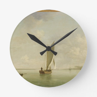 A Smack Under Sail in a Light Breeze in a River, c Round Clock