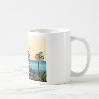 A small and a big monkey at the bridge classic white coffee mug