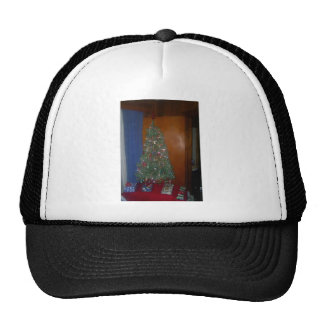 A Small Artificial Christmas Tree with Presents Trucker Hat