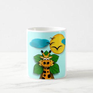 A small giraffe coffee mug