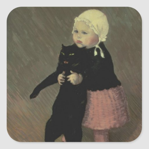 A Small Girl with a Cat, 1889 Square Sticker