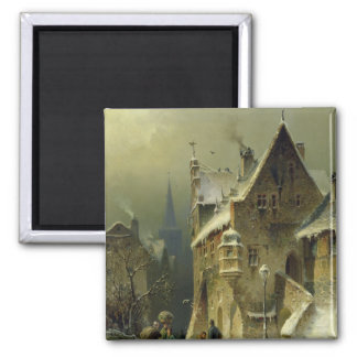 A Small Town in the Rhine 2 Inch Square Magnet