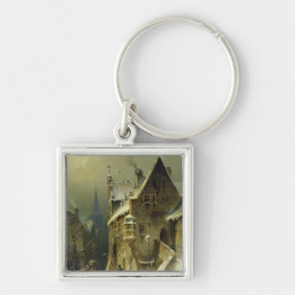 A Small Town in the Rhine Silver-Colored Square Keychain
