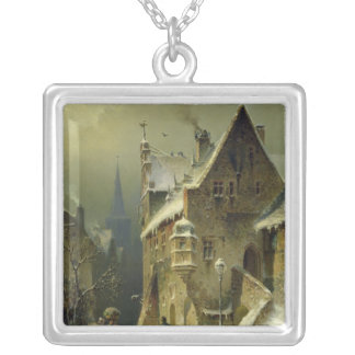 A Small Town in the Rhine Square Pendant Necklace