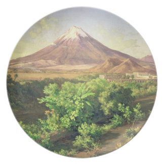 A Small Volcano in Mexican Countryside, 1887 (oil Melamine Plate