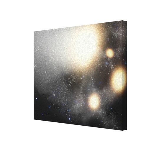 A smash-up of galaxies canvas print