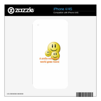 A smile makes the  world goes round iPhone 4S decal