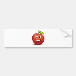A smiling apple bumper sticker