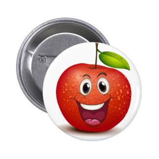 A smiling apple button
