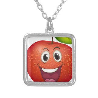 A smiling apple square pendant necklace